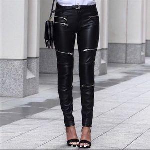 Zara Black Faux Leather Moto Skinny Pants 🔥 NWT❗️